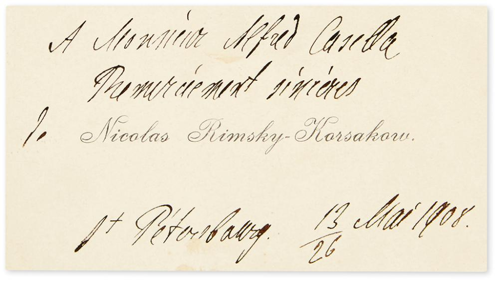 RIMSKY-KORSAKOV, NIKOLAI. Autograph Note, unsigned, in French, on his printed visiting card,