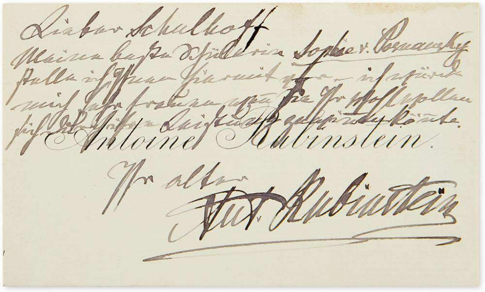 RUBINSTEIN, ANTON. Autograph Note Signed,