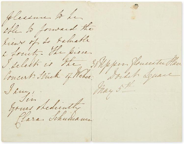 SCHUMANN, CLARA. Autograph Letter Signed, to