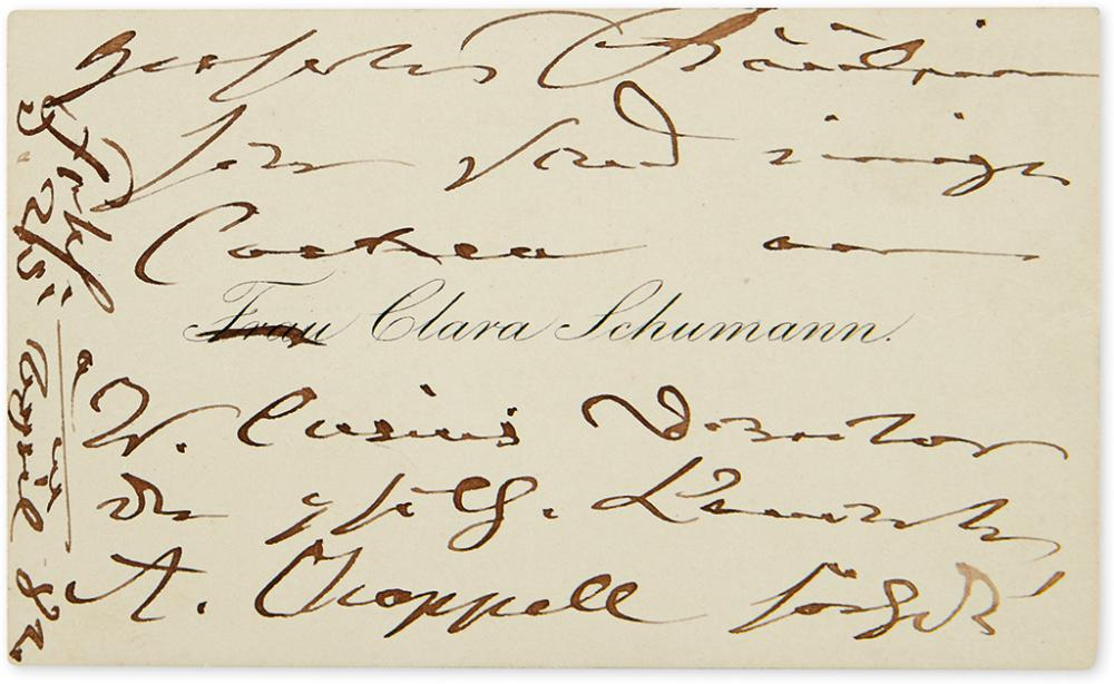 SCHUMANN, CLARA. Autograph Note, unsigned, to