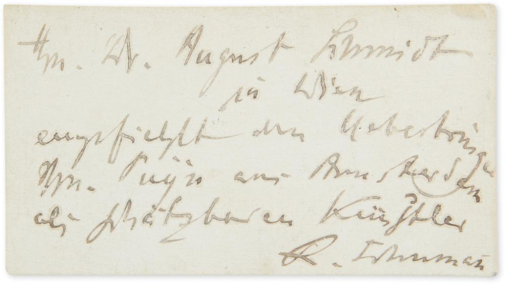 SCHUMANN, ROBERT. Autograph Note Signed,