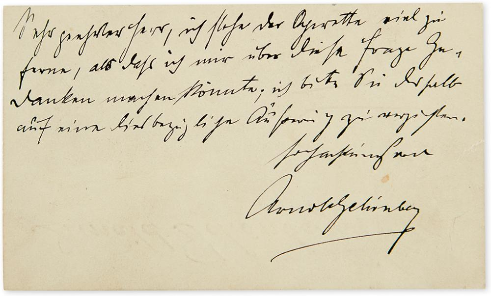 SCHÖNBERG, ARNOLD. Autograph Note Signed, to