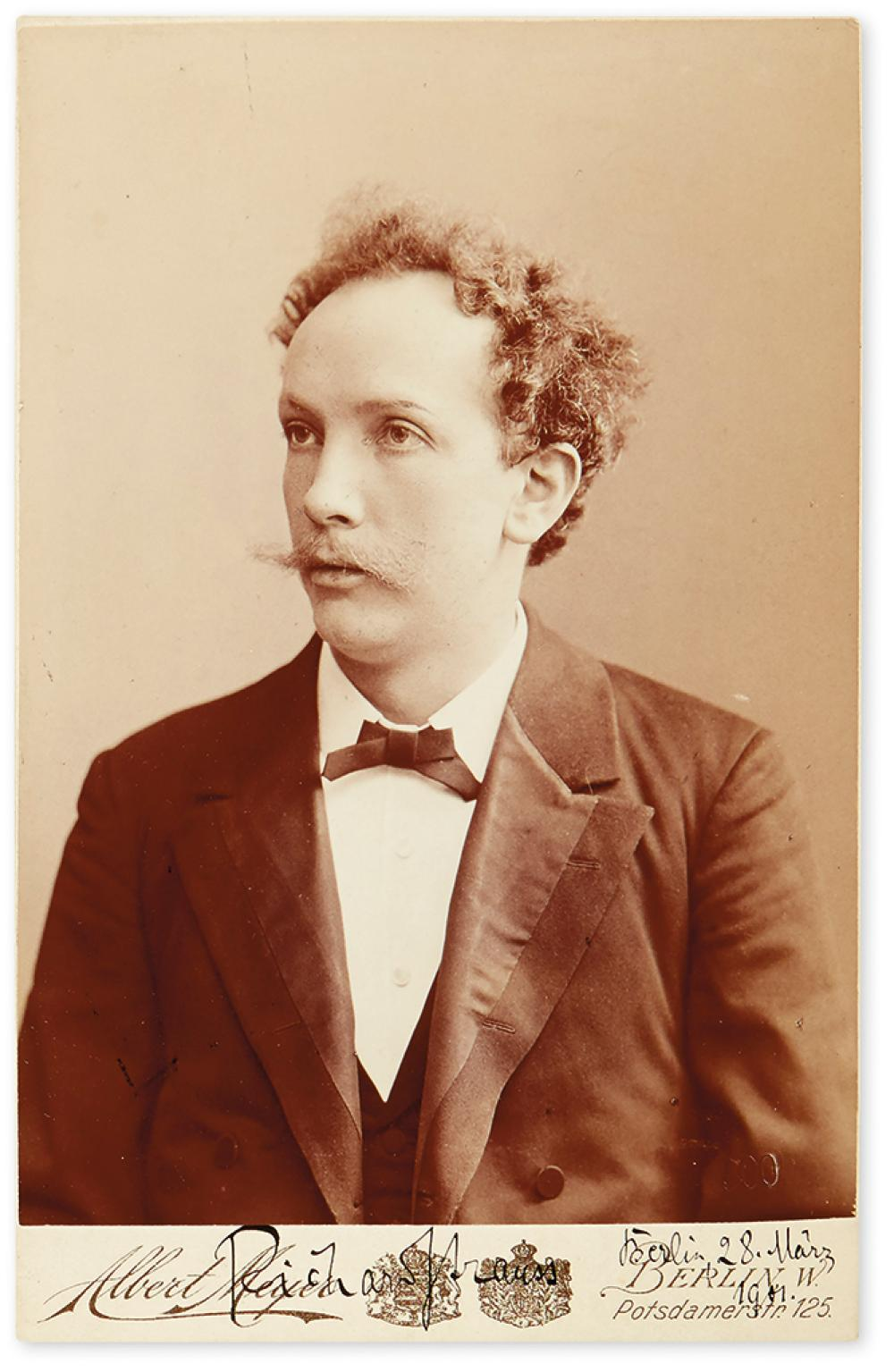 STRAUSS, RICHARD. Photograph dated and Signed, cabinet card ½-length portrait by Meyer,