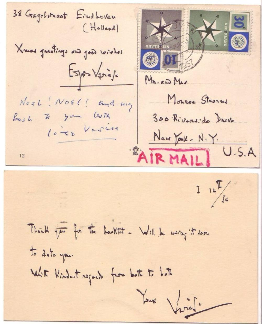 "VARÈSE, EDGARD. Two Autograph Postcards Signed, in full or ""Varèse,"" each to writer Monroe Stearns, in English."