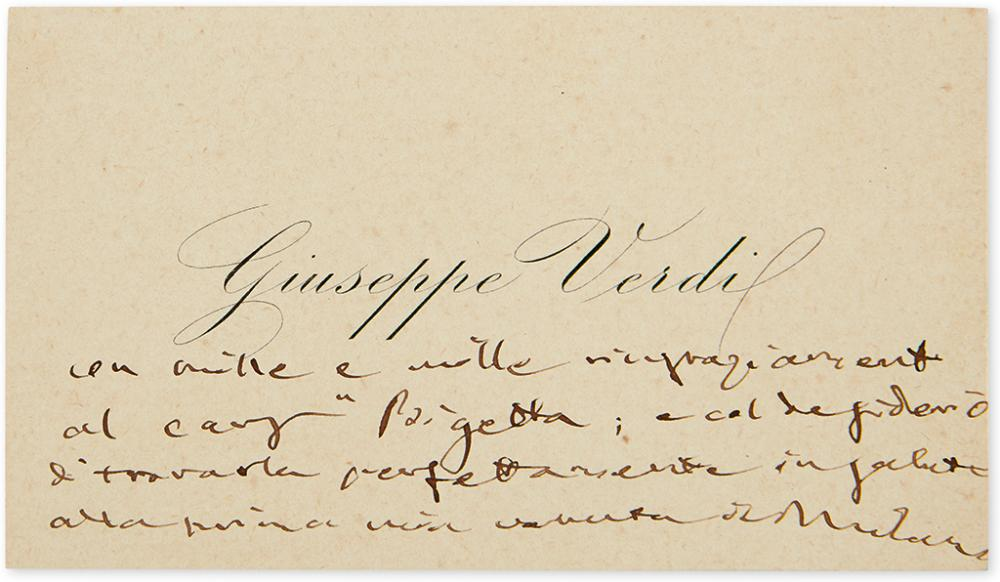 VERDI, GIUSEPPE. Autograph Note, unsigned, to