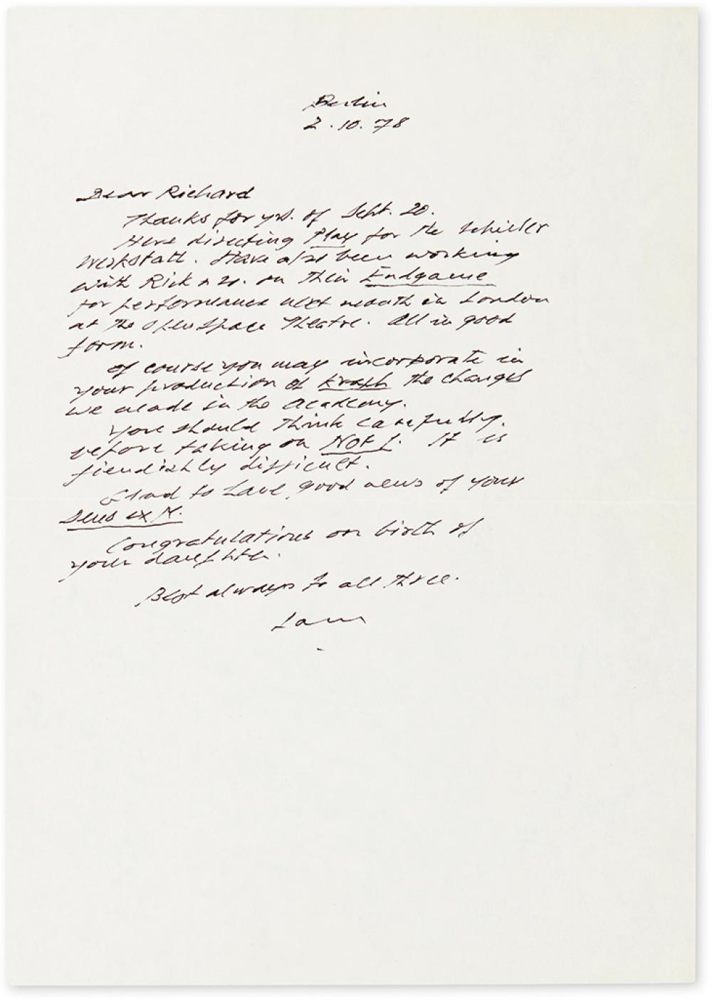 BECKETT, SAMUEL. Autograph Letter, unsigned, to Richard S. Bailey (
