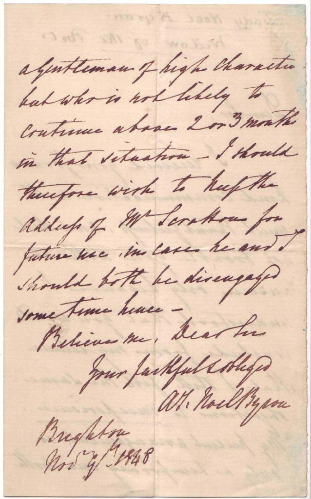 BYRON, ANNE ISABELLA MILBANKE; LADY. Autograph Letter Signed,