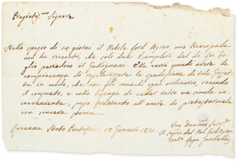 (BYRON, GEORGE GORDON NOEL; LORD.) ZAMBELLI, ANTONIO LEGA. Autograph Letter Signed,