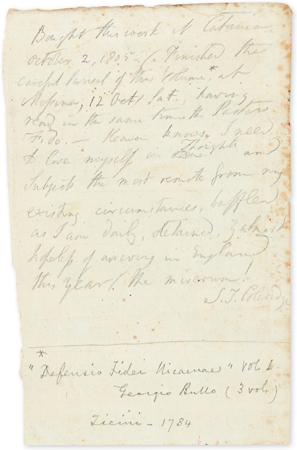 COLERIDGE, SAMUEL TAYLOR. Autograph Manuscript Signed,