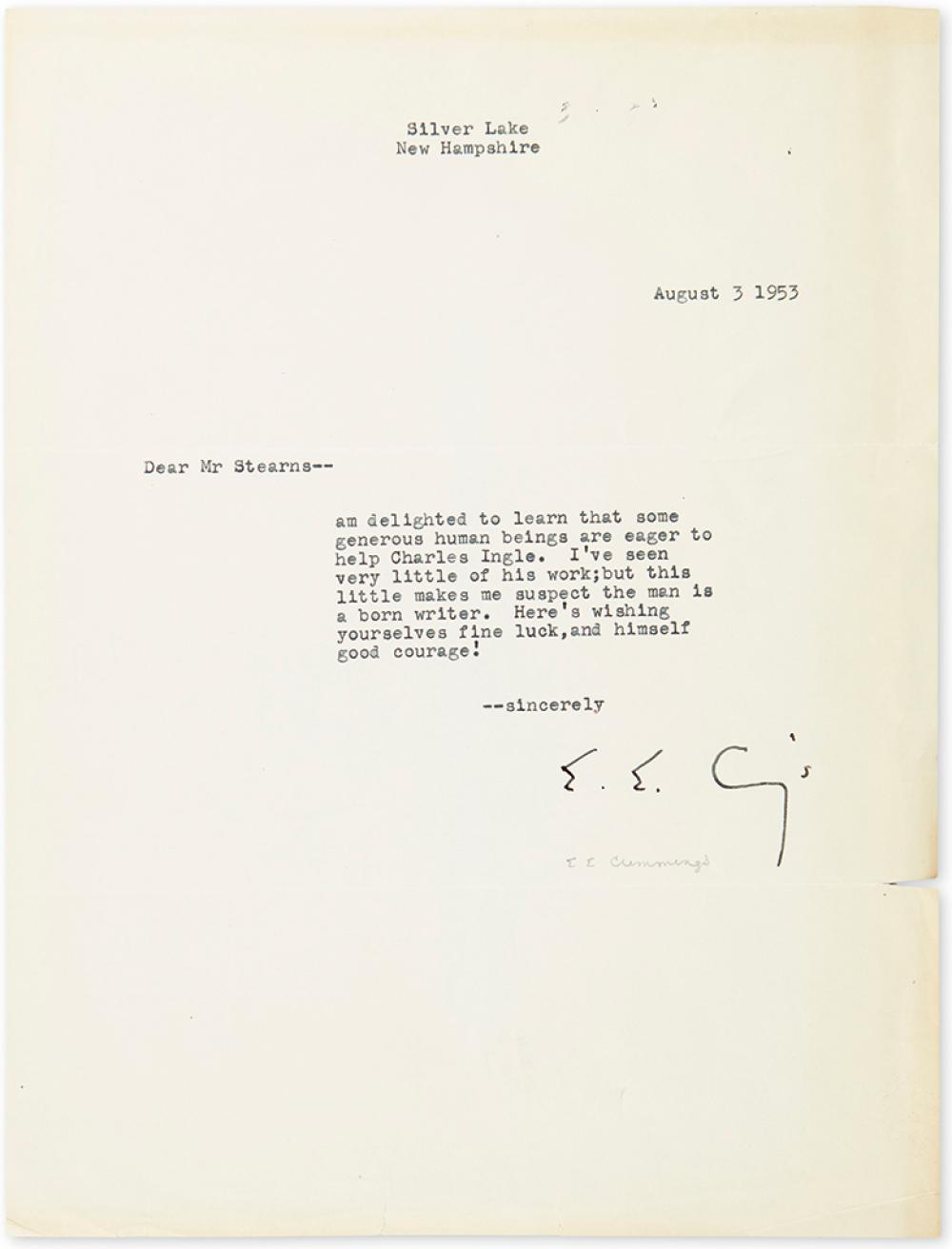 CUMMINGS, E.E. Typed Letter Signed,