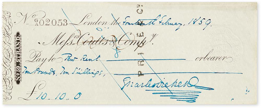 DICKENS, CHARLES. Check accomplished and Signed, to
