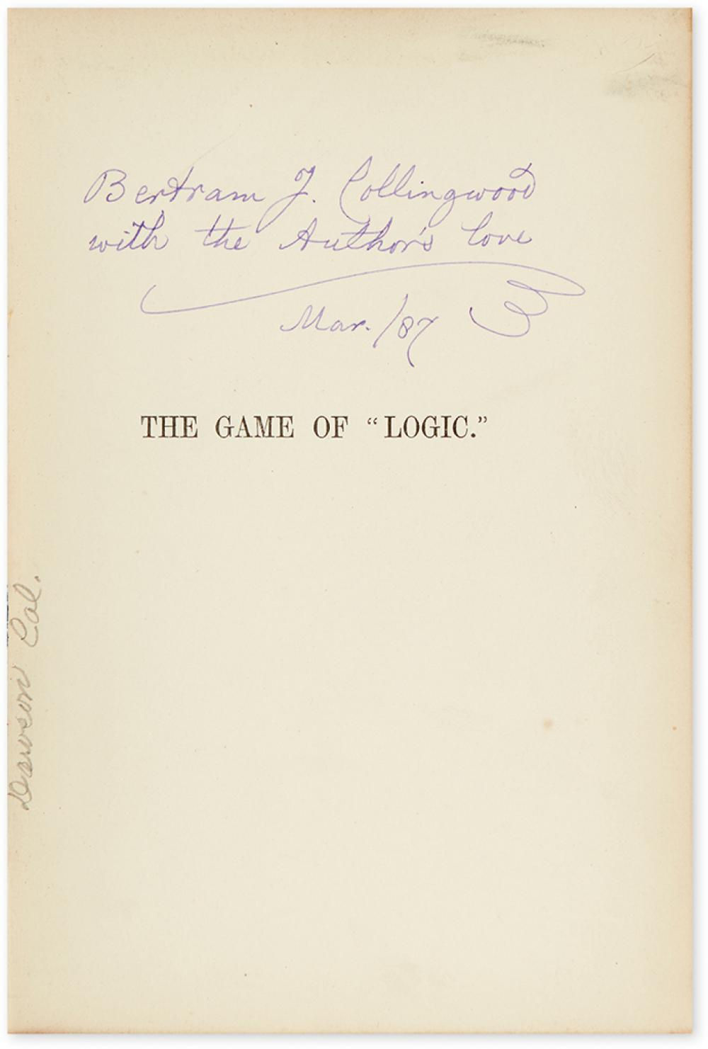 DODGSON, CHARLES LUTWIDGE. The Game of Logic. Inscribed to his nephew, on the half-title: