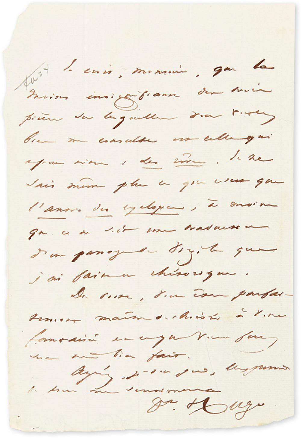 HUGO, VICTOR. Autograph Letter Signed,