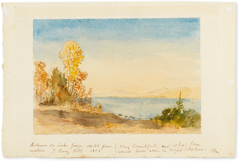 RUSKIN, JOHN; AND JOHN H. HILL. Watercolor landscape by Hill, Signed and Inscribed by both, in blank lower margin.