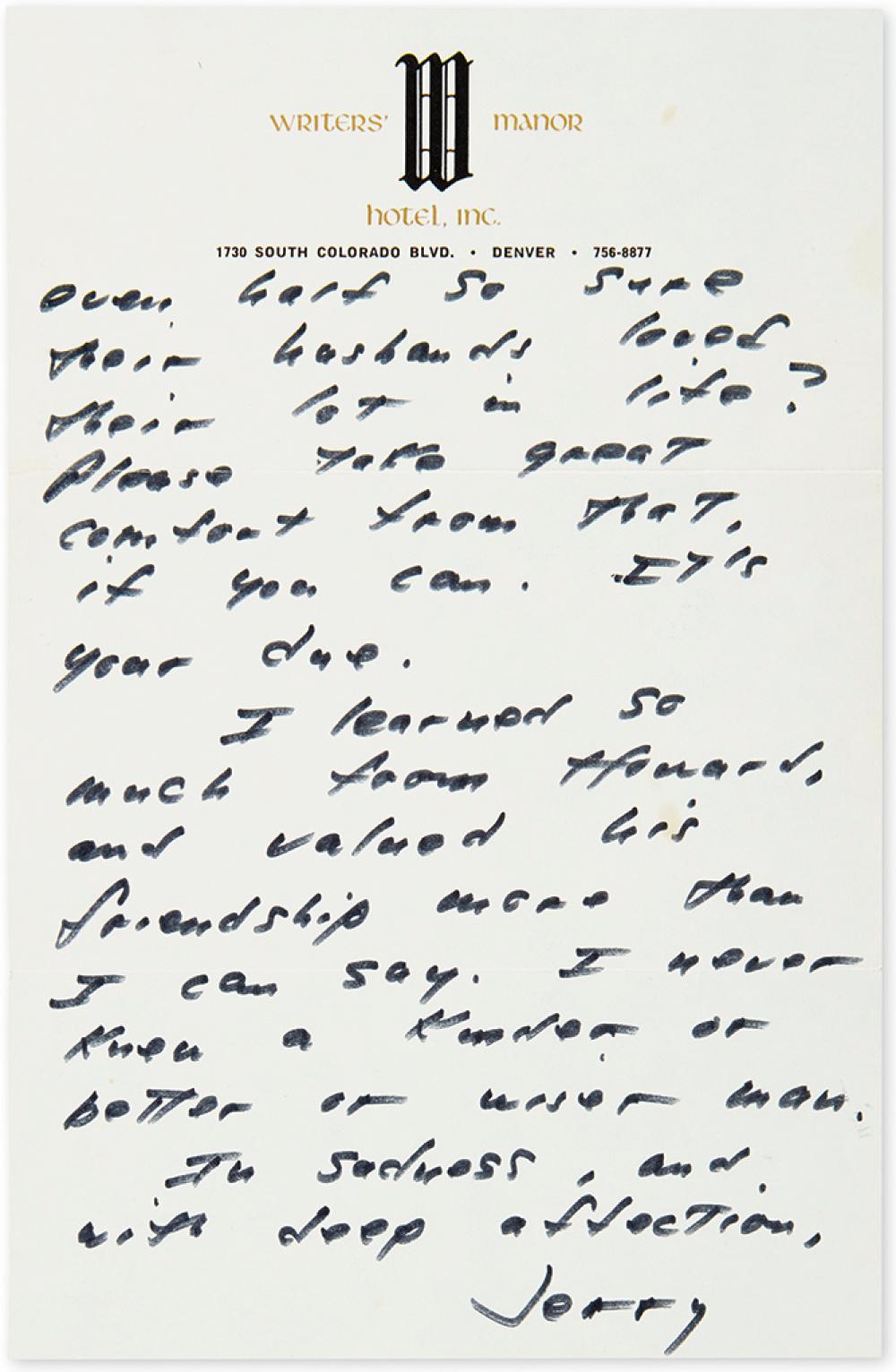 SALINGER, J.D. Autograph Letter Signed,