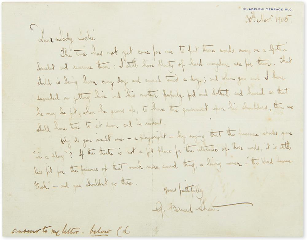 SHAW, GEORGE BERNARD. Autograph Letter Signed,