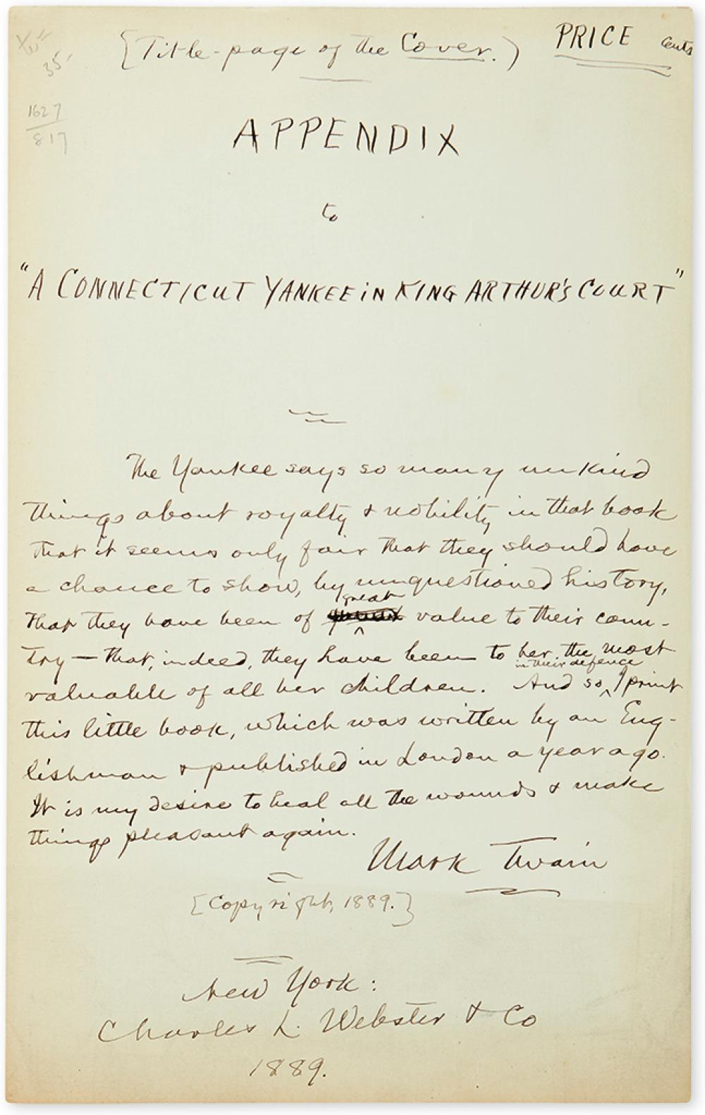 TWAIN, MARK. Autograph Manuscript Signed, draft of a title-page for Appendix to 'A Connecticut Yankee in King Arthur's Court',