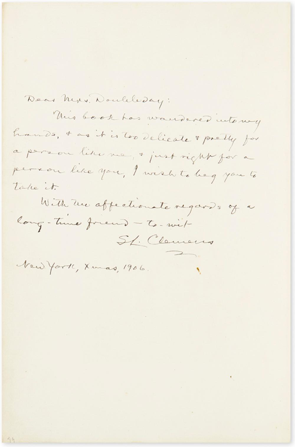 TWAIN, MARK. What is Man? Inscribed and Signed,