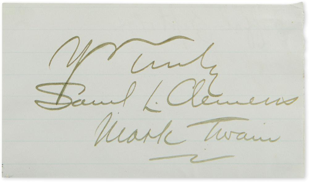 TWAIN, MARK. Autograph inscription Signed,
