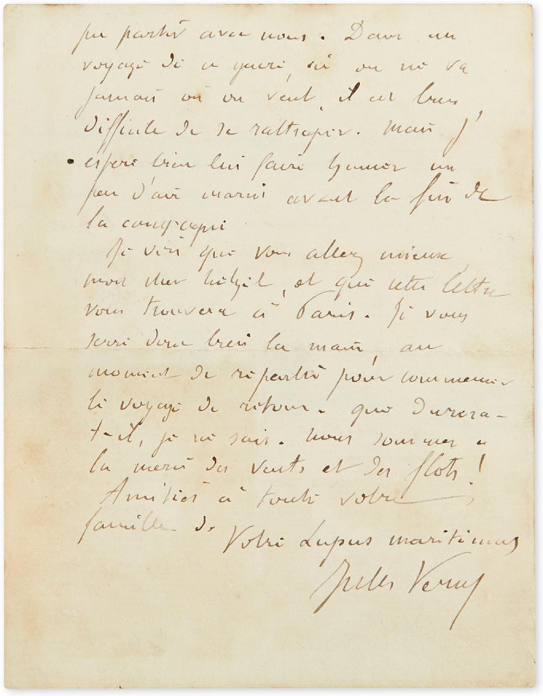 VERNE, JULES. Autograph Letter Signed, to publisher Pierre-Jules Hetzel (