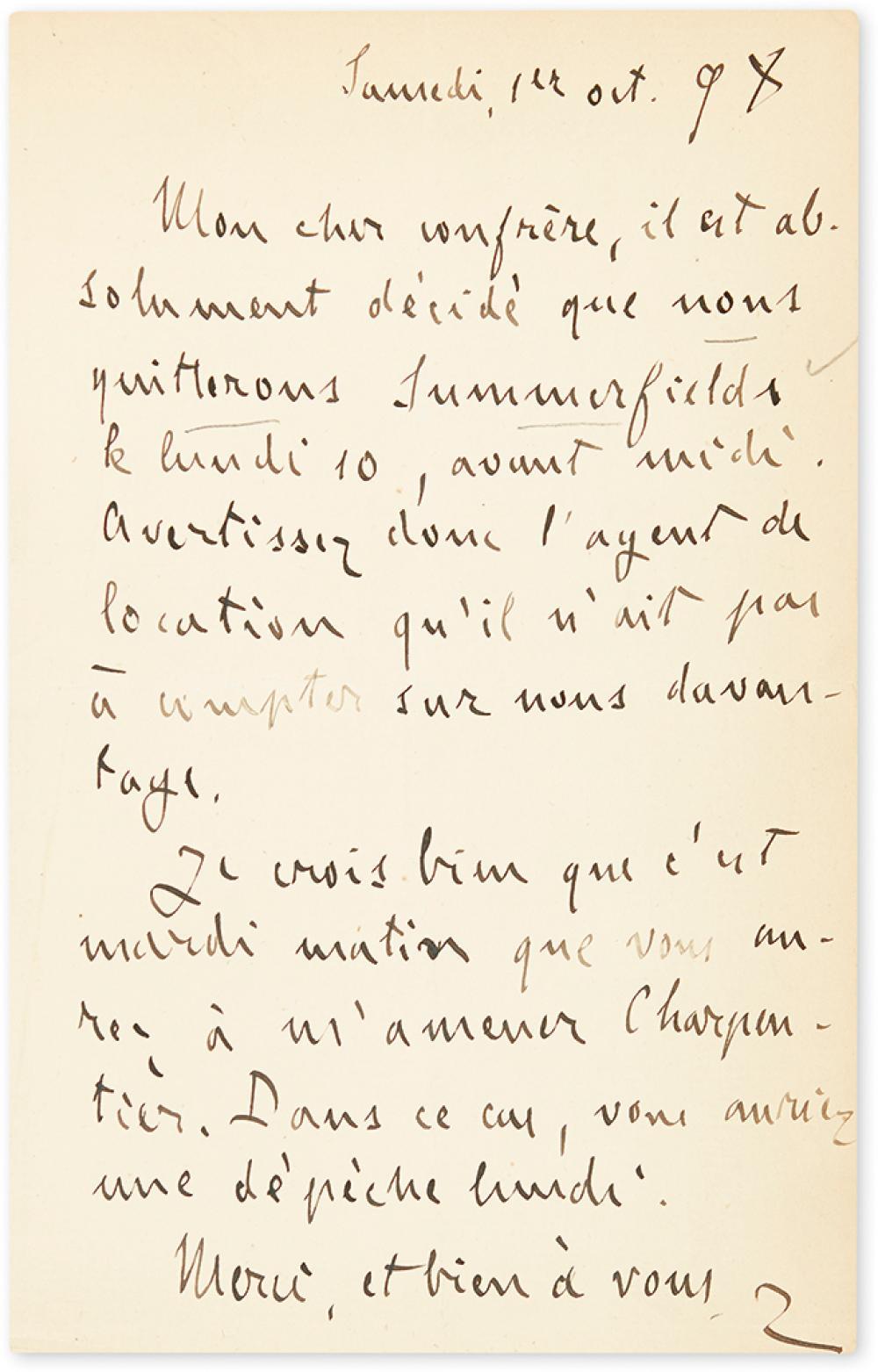 ZOLA, ÉMILE. Autograph Letter Signed,