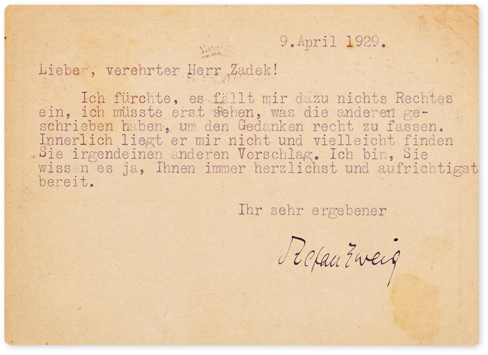 ZWEIG, STEFAN. Typed Postcard Signed, to Berliner Tageblatt Editor Walter Zadek, in German,