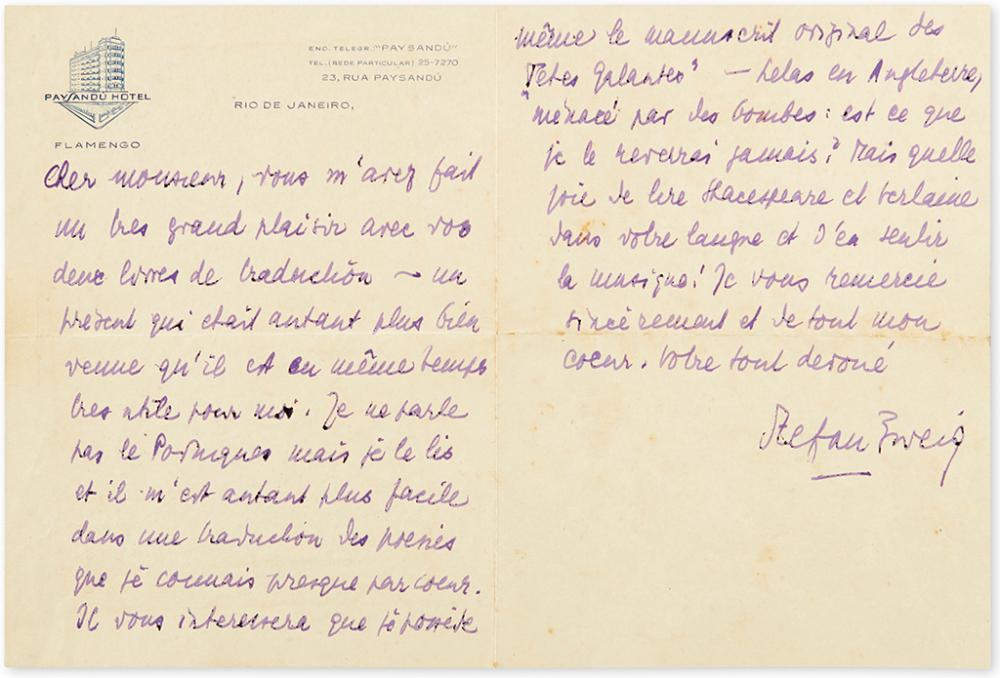 ZWEIG, STEFAN. Autograph Letter Signed, to