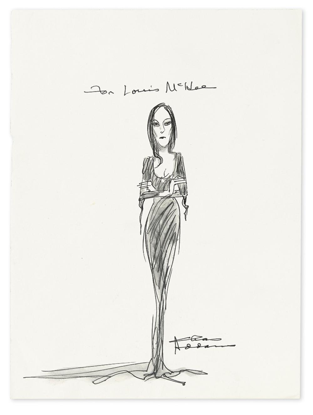 ADDAMS, CHARLES. Ink and wash drawing Signed,
