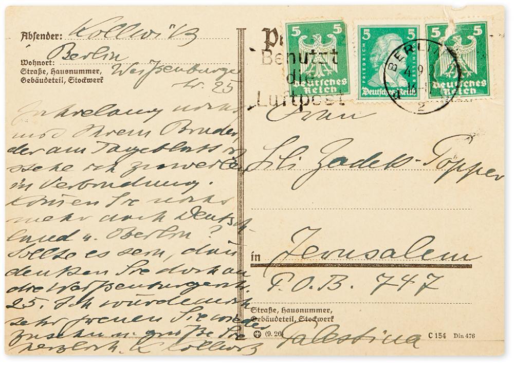 KOLLWITZ, KÄTHE. Autograph Postcard Signed, twice,