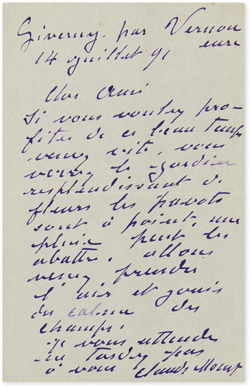 MONET, CLAUDE. Autograph Letter Signed, to friend and art critic Gustave Geffroy, in French, in purple ink,
