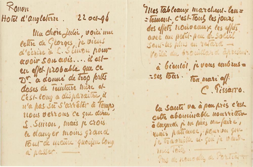 PISSARRO, CAMILLE. Autograph Letter Signed,
