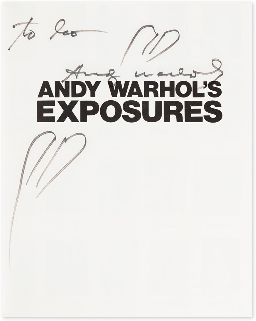 WARHOL, ANDY. Andy Warhol's Exposures. Signed and Inscribed,