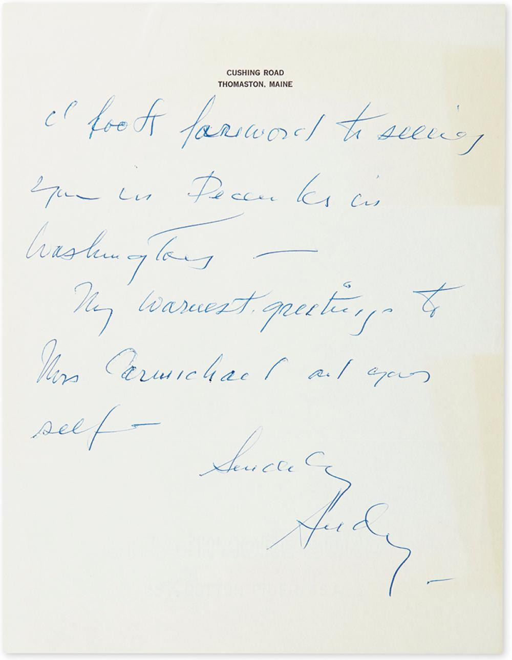 WYETH, ANDREW. Two Autograph Letters Signed,