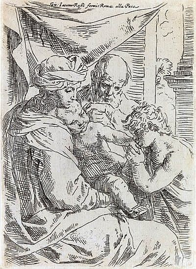 SIMONE CANTARINI The Holy Family with the Young St. John the Baptist Kissing the Hand of Christ.