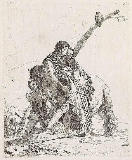 GIOVANNI B. TIEPOLO Tre uomini e un cavallo.