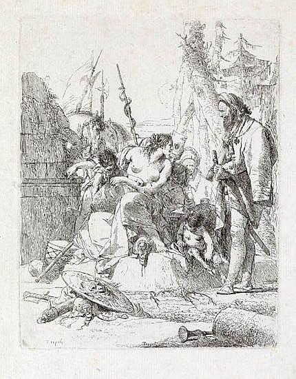 GIOVANNI B. TIEPOLO Ninfa seminuda con due fanciulli circondata da quattro uomini.
