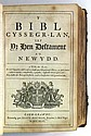 BIBLE IN WELSH.  Y Bibl Cyssegr-Lan; sef, Yr Hen Destament a'r Newydd [with Book of Common Prayer and Metrical Psalms in Welsh].  174