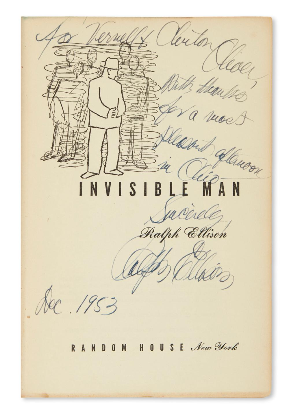 ELLISON, RALPH. Invisible Man. Signed and Inscribed, on title-page: