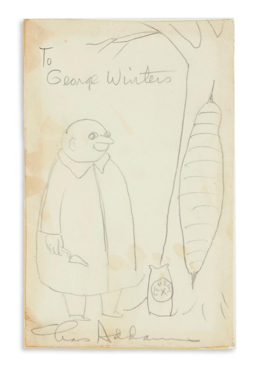 "ADDAMS, CHARLES. Graphite drawing, Signed and Inscribed, ""To George Winters / Chas Addams,"" in pencil, cartoon showing Uncle Fester"