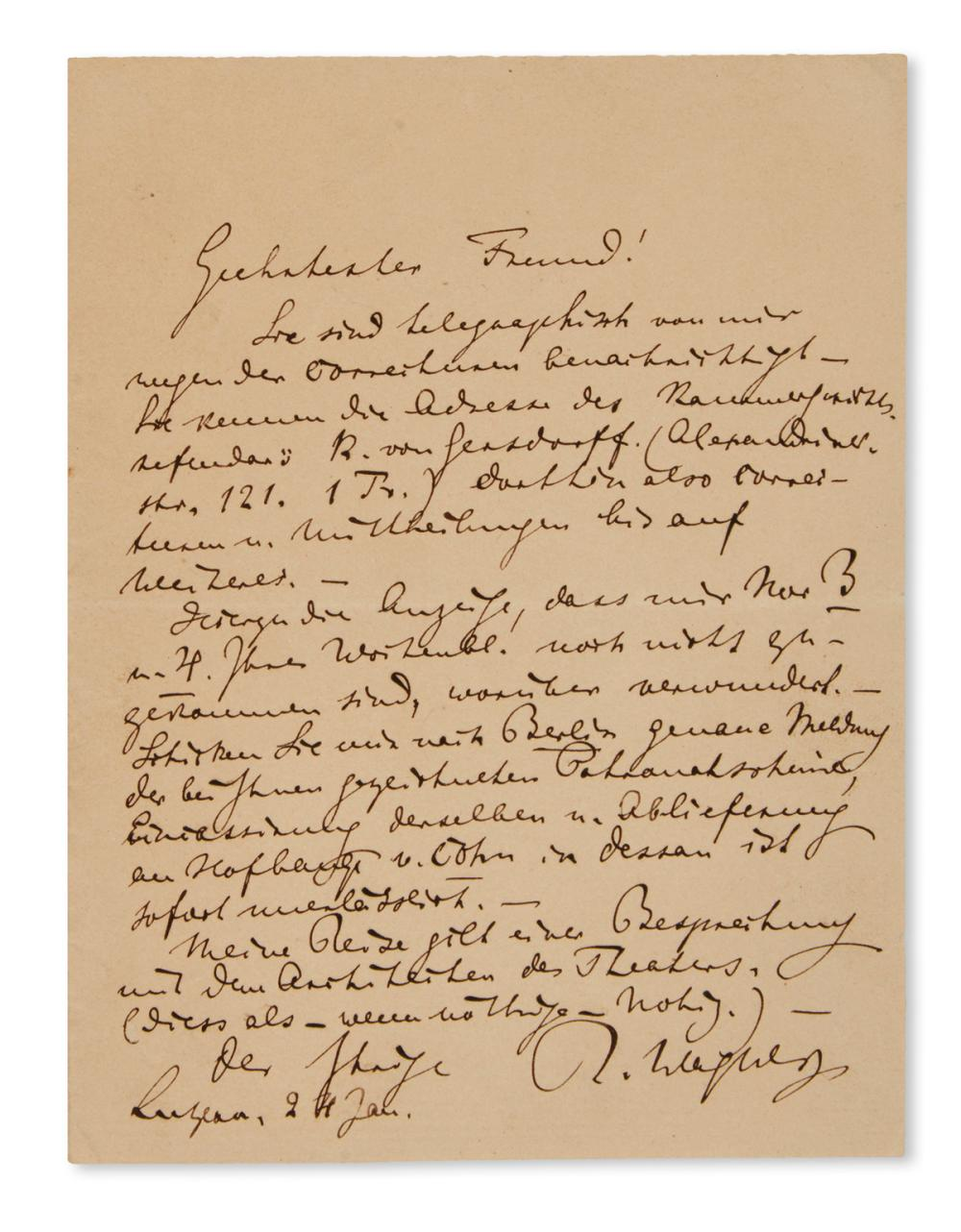 "WAGNER, RICHARD. Autograph Letter Signed, ""R. Wagner,"" to ""Dearest Friend,"" in German,"