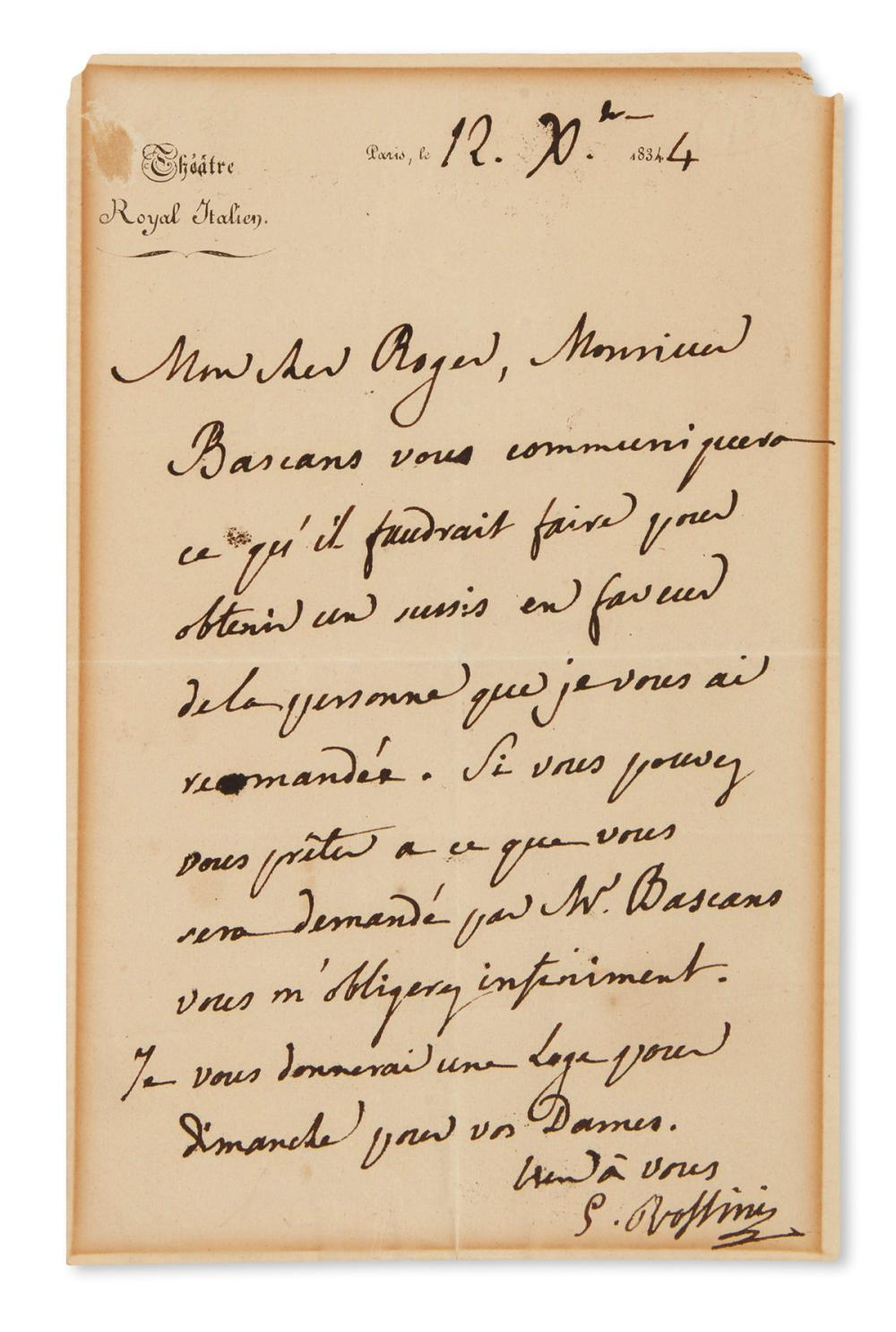 "ROSSINI, GIOACCHINO. Autograph Letter Signed, ""G. Rossini,"" to ""My dear Roger,"" in French,"