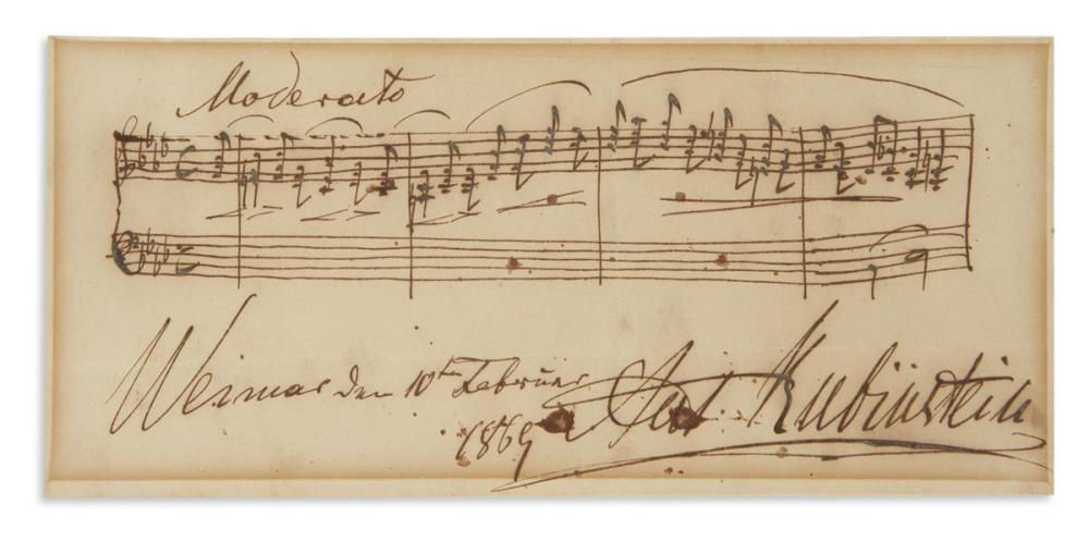 "RUBINSTEIN, ANTON. Autograph Musical Quotation Signed, ""Ant. Rubinstein,"""