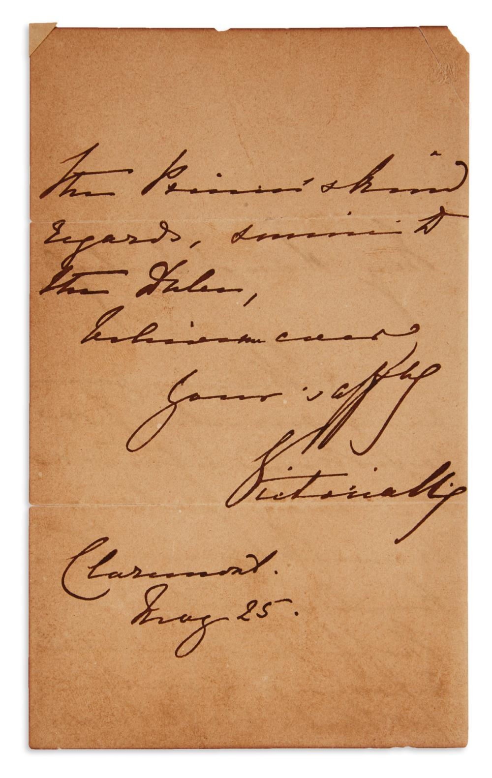 "VICTORIA; QUEEN OF THE UK. Autograph Letter Signed, ""VictoriaRg,"" to ""My dear Duchess,"""