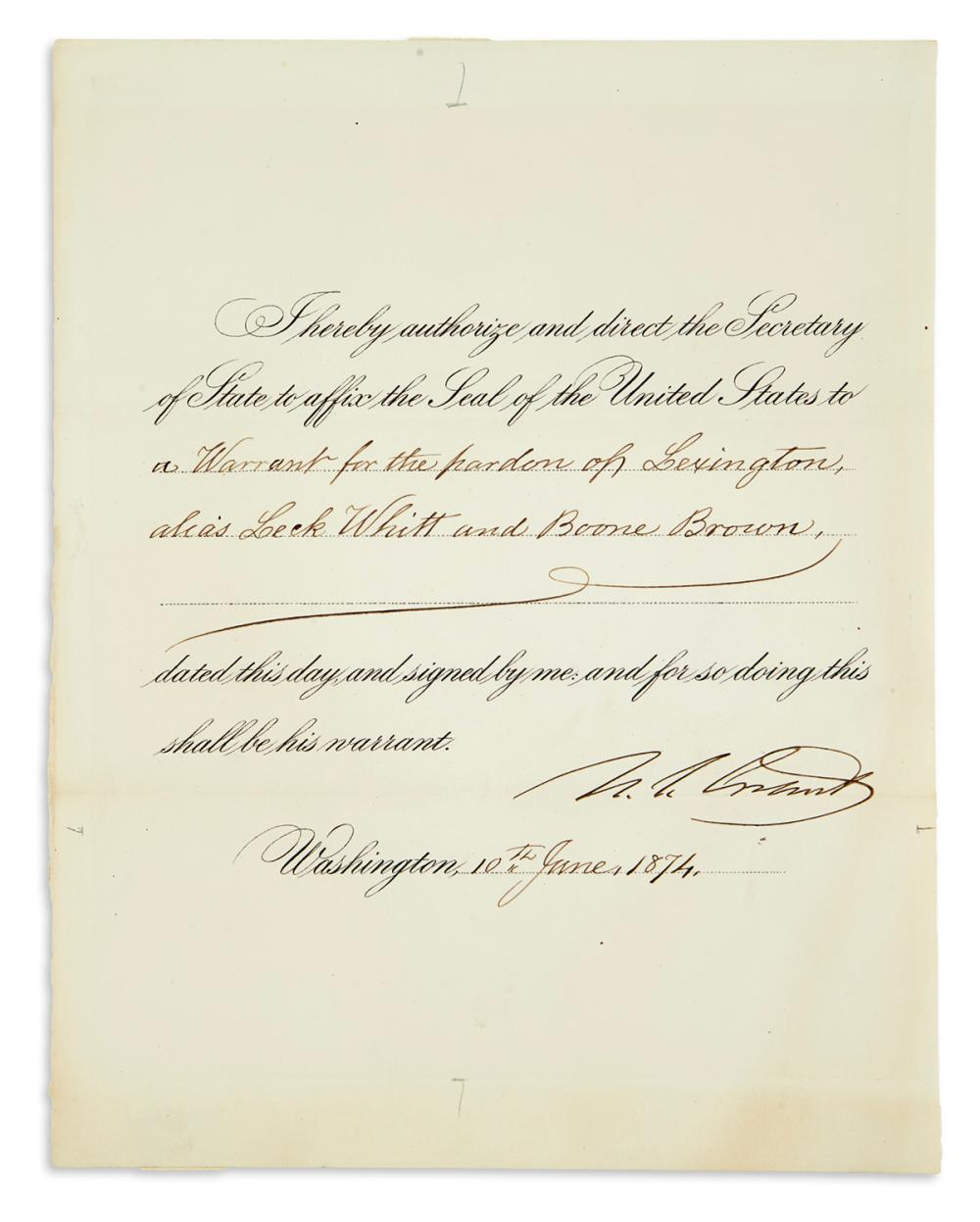"GRANT, ULYSSES S. Partly-printed Document Signed, ""U.S. Grant,"" as President,"