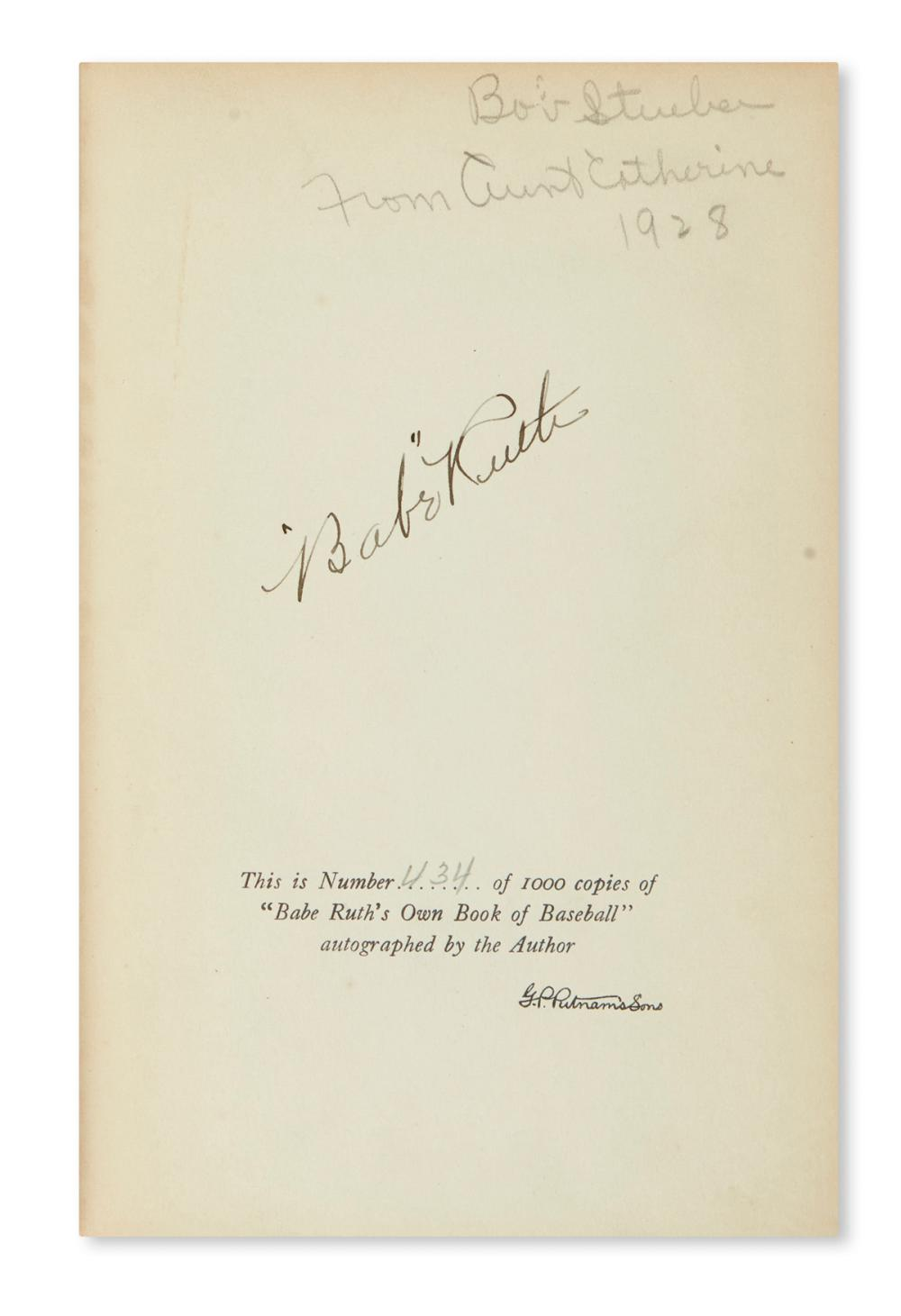 RUTH, BABE. Babe Ruth's Own Book of Baseball. Signed, on the limitation page.