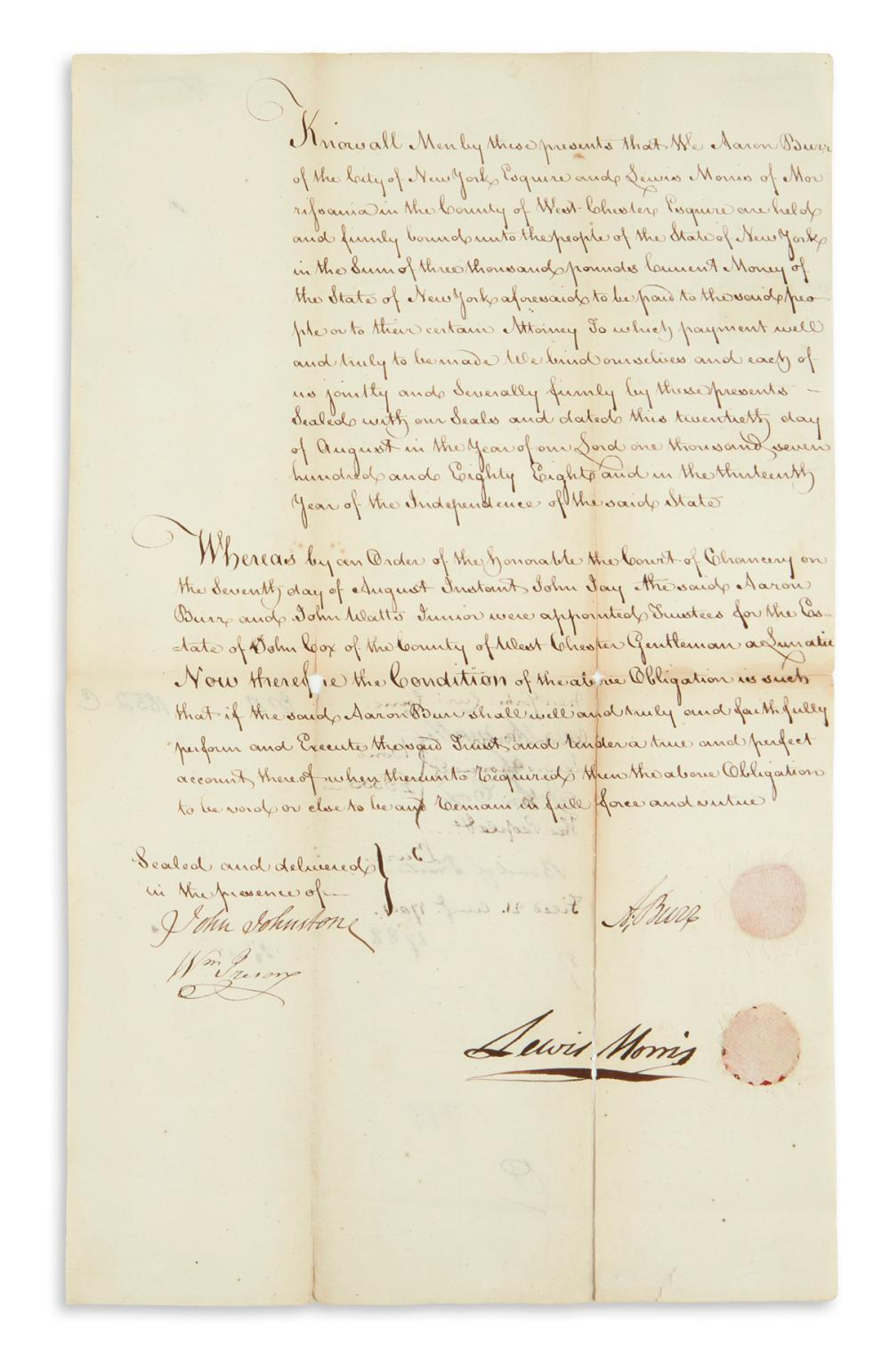 "BURR, AARON. Document Signed, ""A. Burr,"" a bond for him and Lewis Morris in the amount of £3,000 to the state of New York."