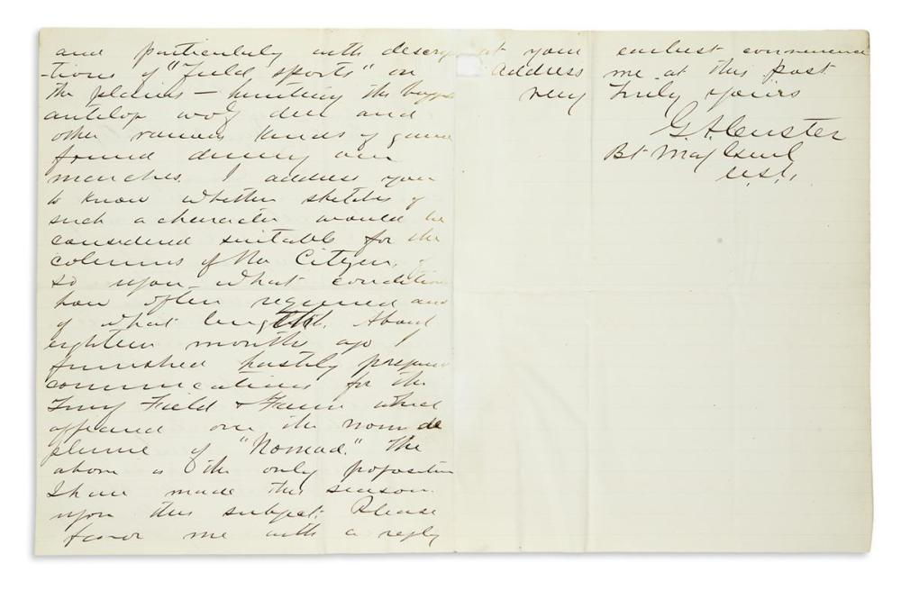 "CUSTER, GEORGE ARMSTRONG. Autograph Letter Signed, ""G.A. Custer / Bt Maj Genl / U.S.A.,"" to New York Citizen Editor Robert Barnhill Roo"