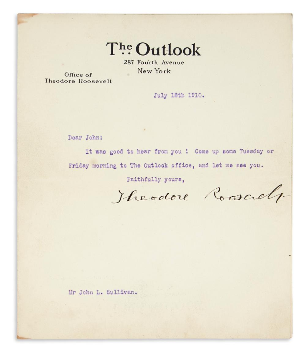 ROOSEVELT, THEODORE. Typed Letter Signed, to bare-knuckle boxer John L. Sullivan,