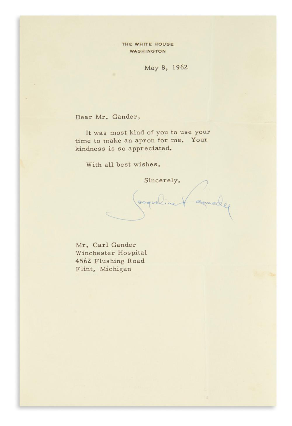 KENNEDY, JACQUELINE. Typed Letter Signed, to Carl Gander,