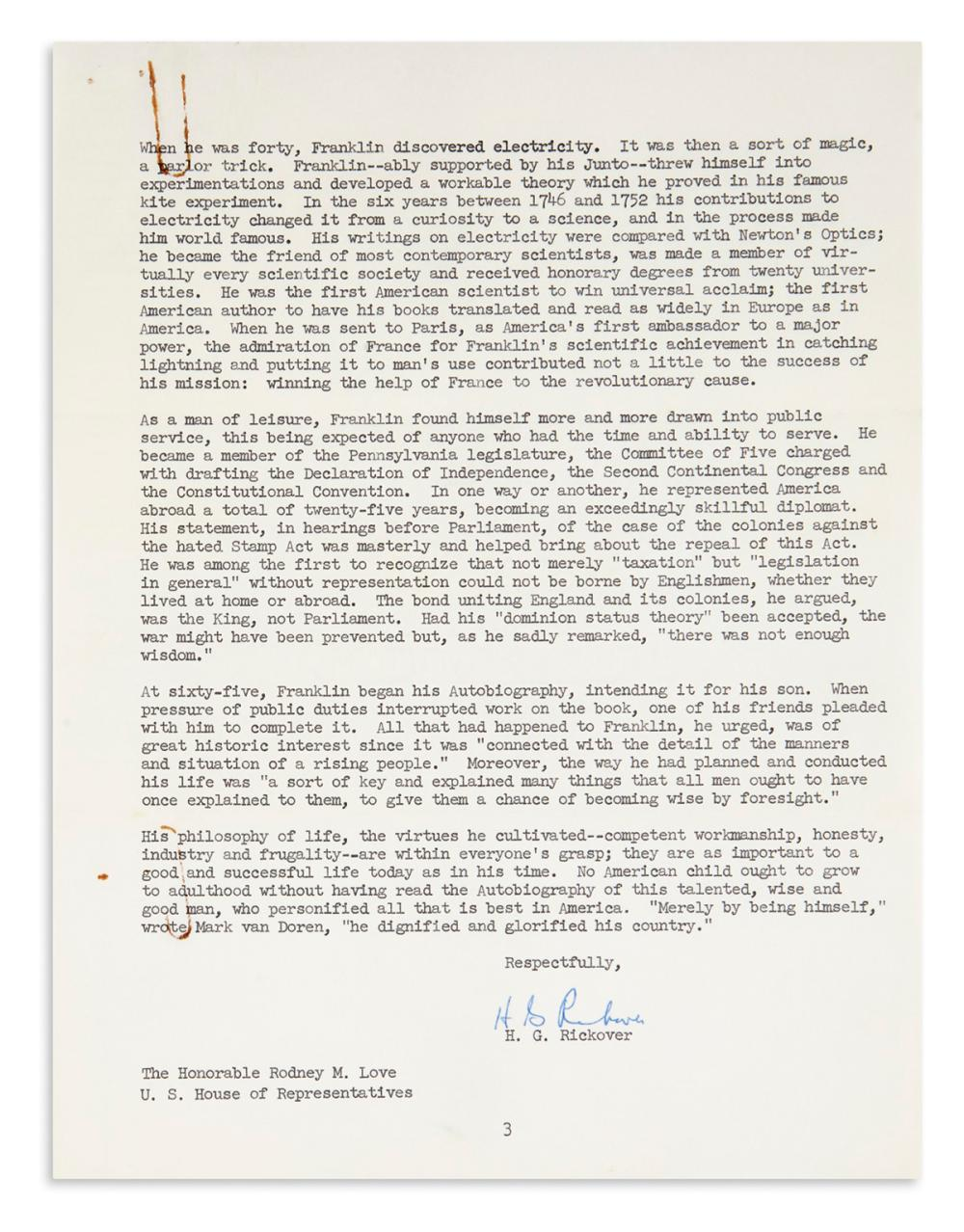 "RICKOVER, HYMAN G. Typed Letter Signed, ""H.G. Rickover,"" to Representative Rodney M. Love,"